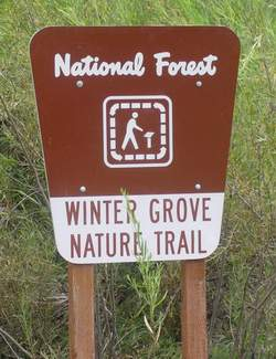 Sign to Winter grove Nature Trail